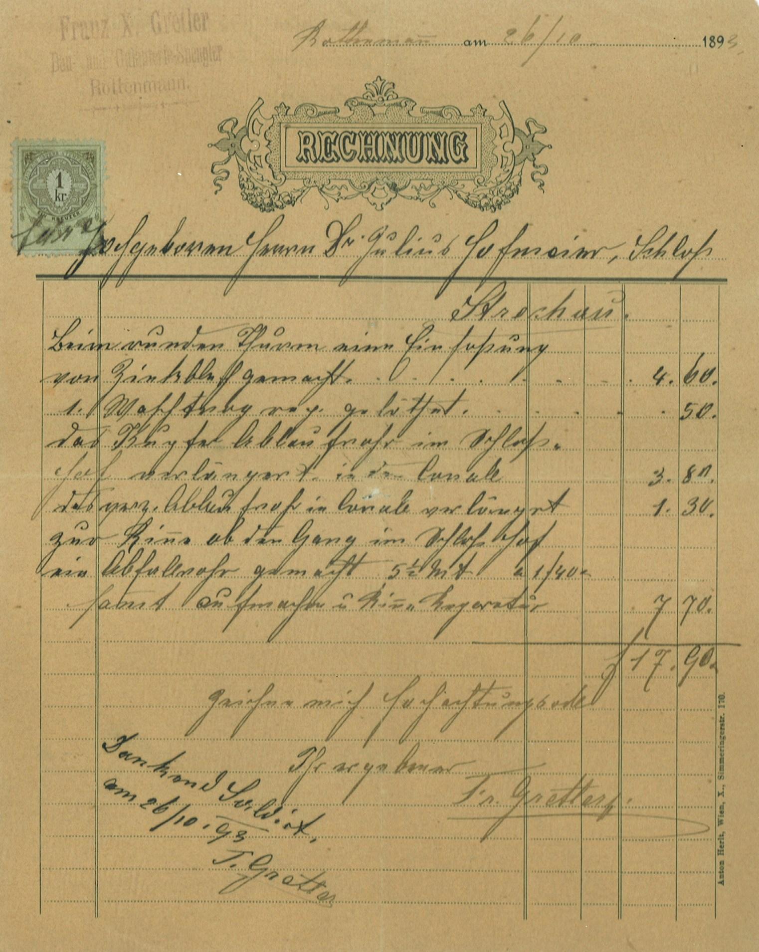 Erste Rechnung 1892